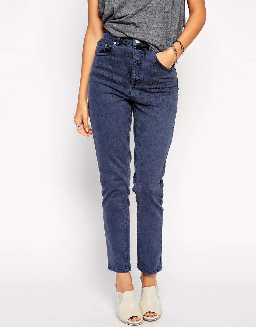 asos farleigh high waist slim mom jeans in blue black in. Black Bedroom Furniture Sets. Home Design Ideas