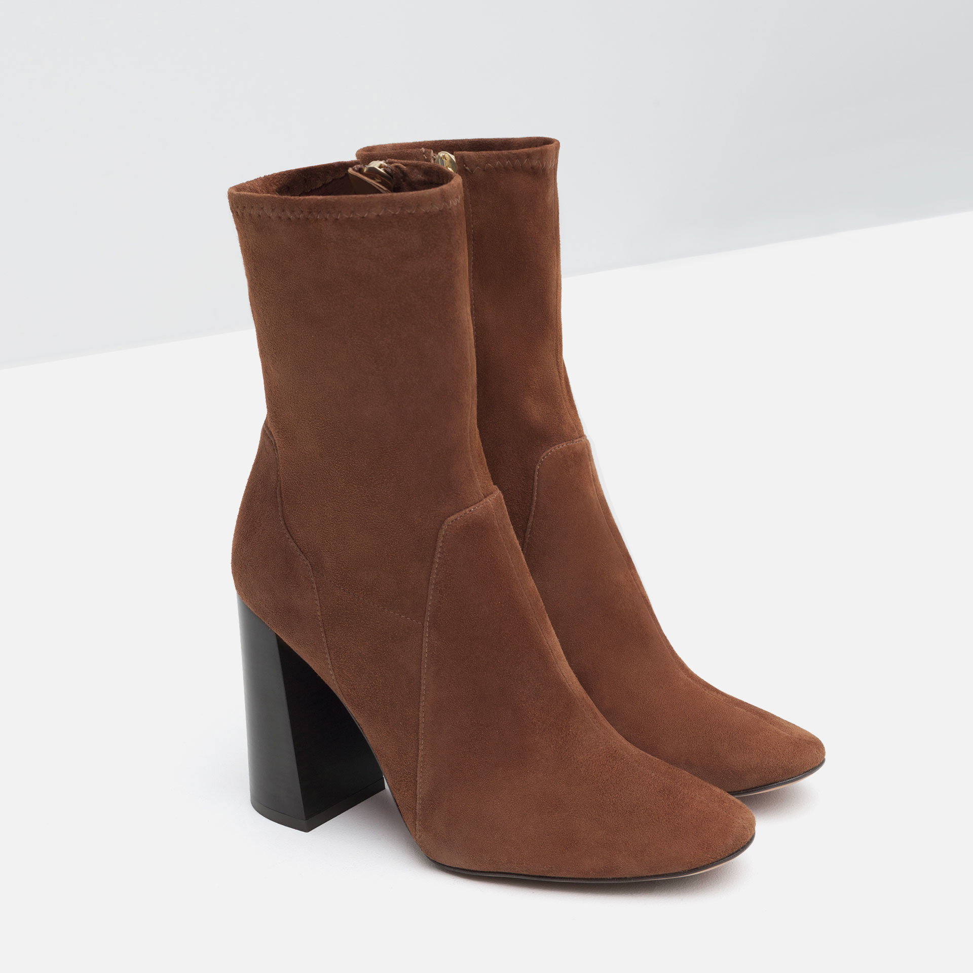 zara high heel suede ankle boots in brown lyst