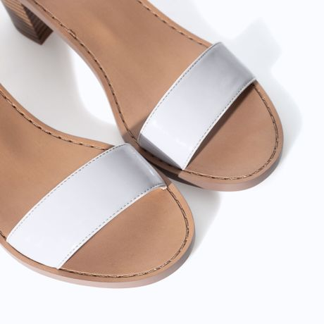 Zara Block Heel Sandal In White Lyst