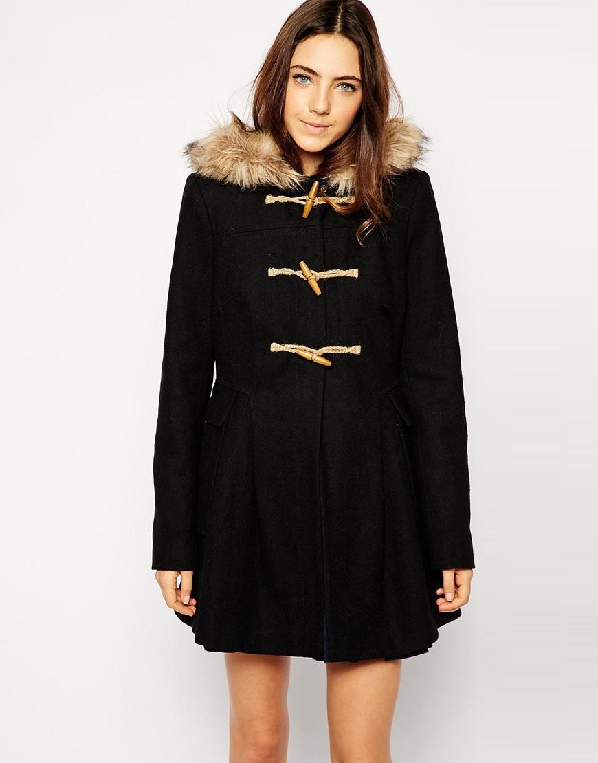 4f1718cf827 Lyst - ASOS Faux Fur Hooded Duffle Coat in Black