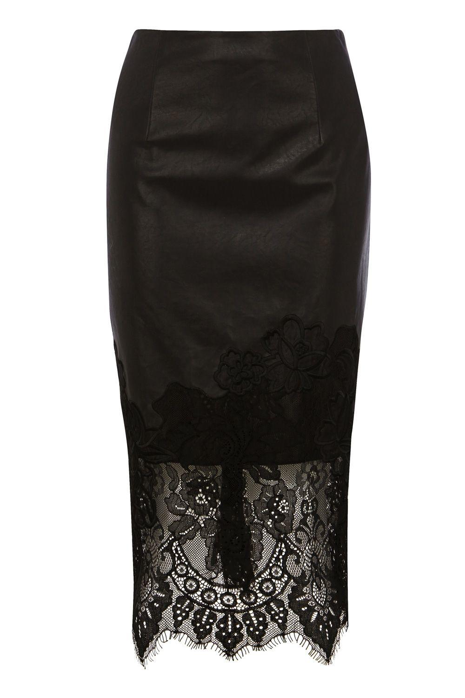 coast lace trim pencil skirt in black lyst