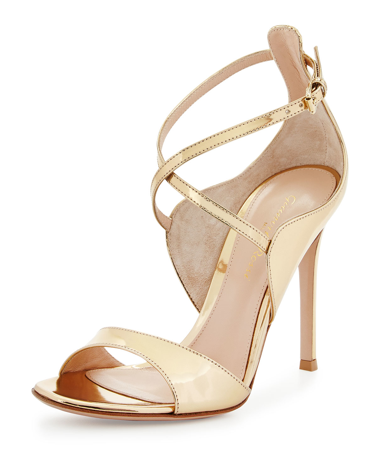 165a80a67c1 Lyst - Gianvito Rossi Crossover Ankle-Wrap Leather Sandals in Natural