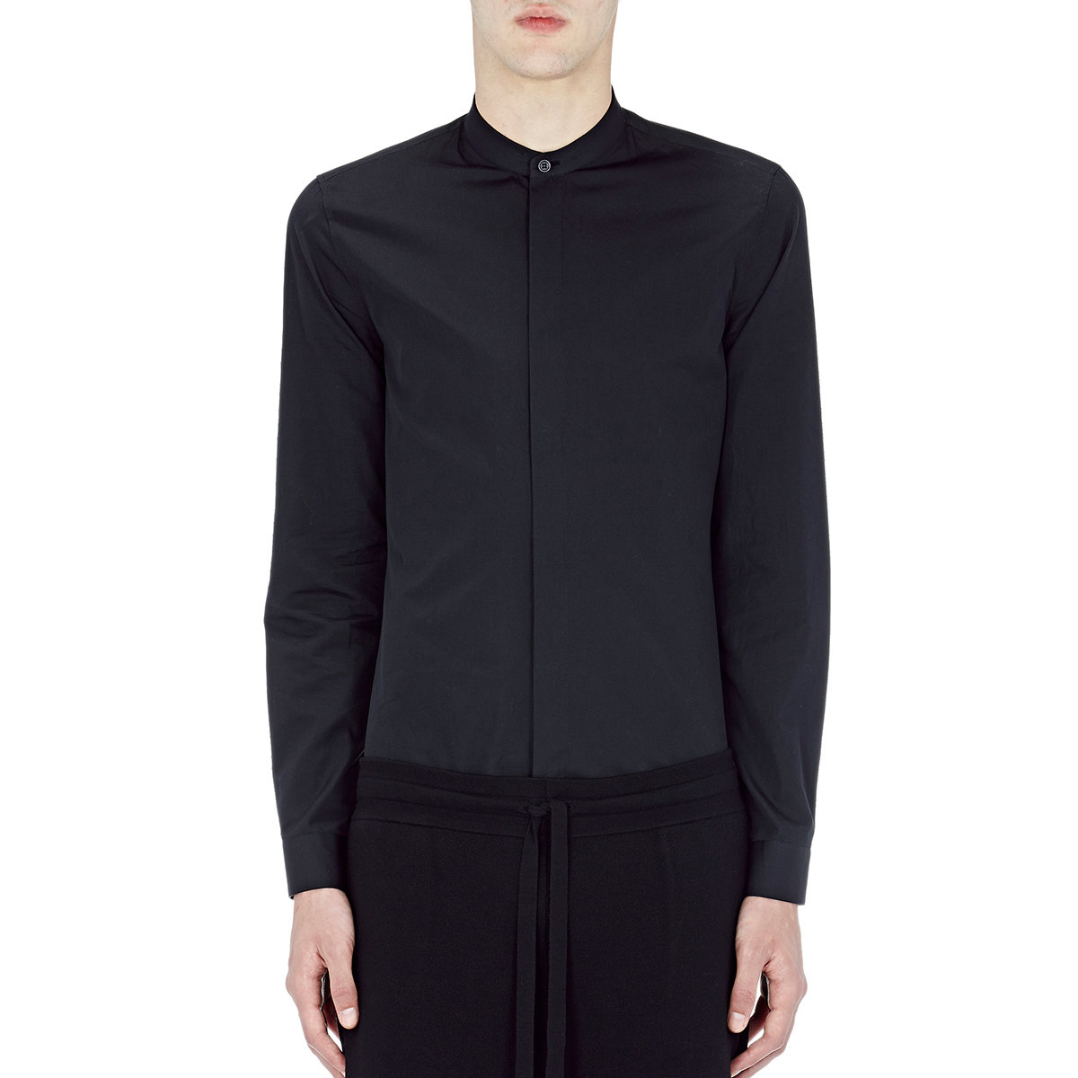 Balenciaga leather collar shirt in blue for men lyst for Mens shirts with leather
