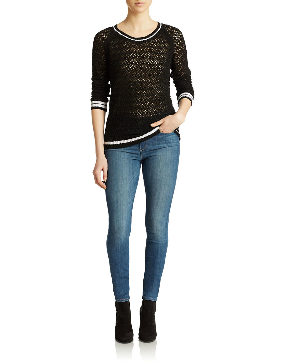 Lyst Lord Taylor Tennis Sweater In Black