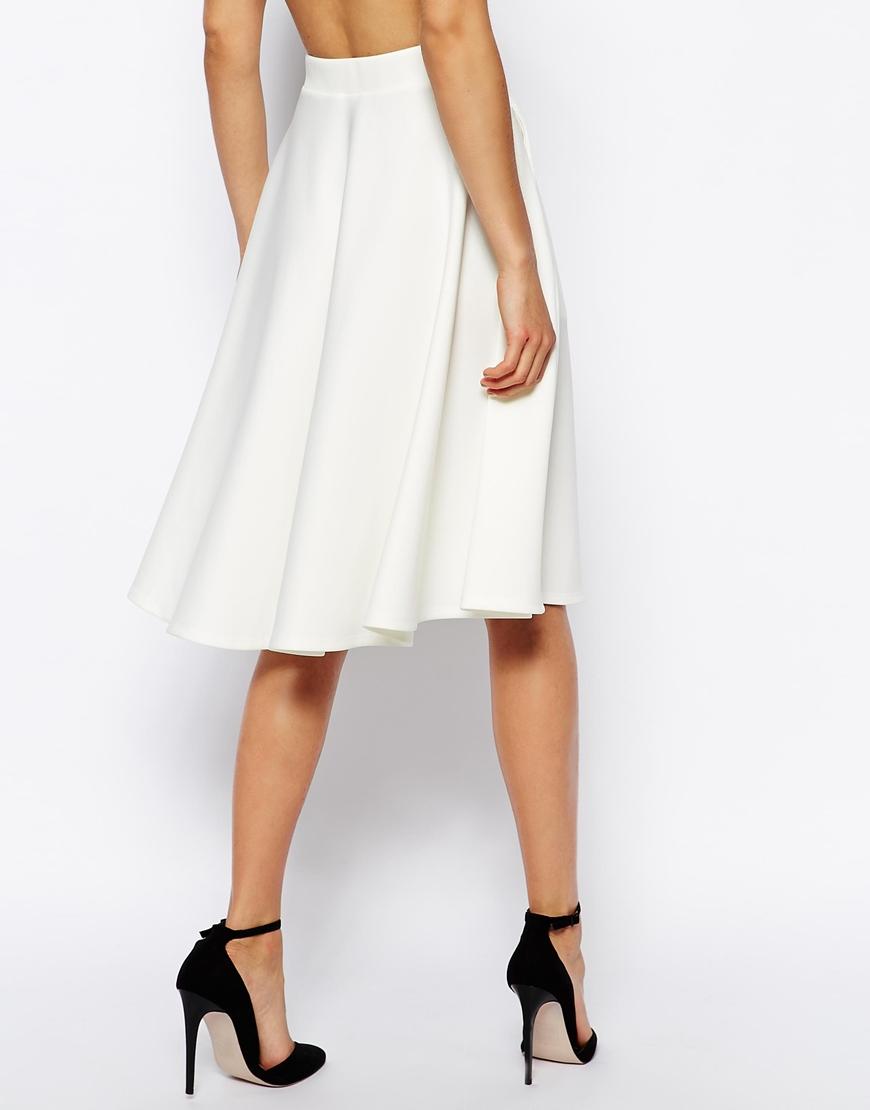 Asos Full Midi Skirt in Scuba with Pockets in White | Lyst
