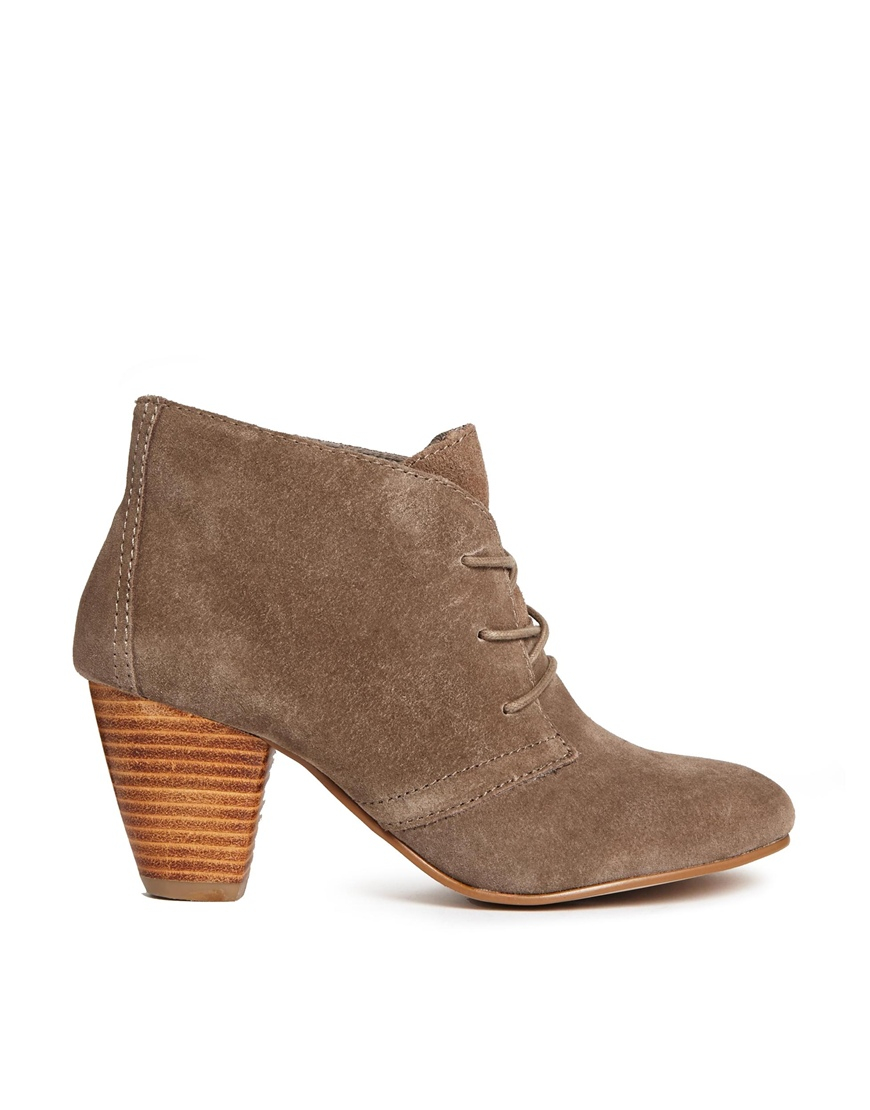 aldo belzemire lace up heeled boots in brown lyst