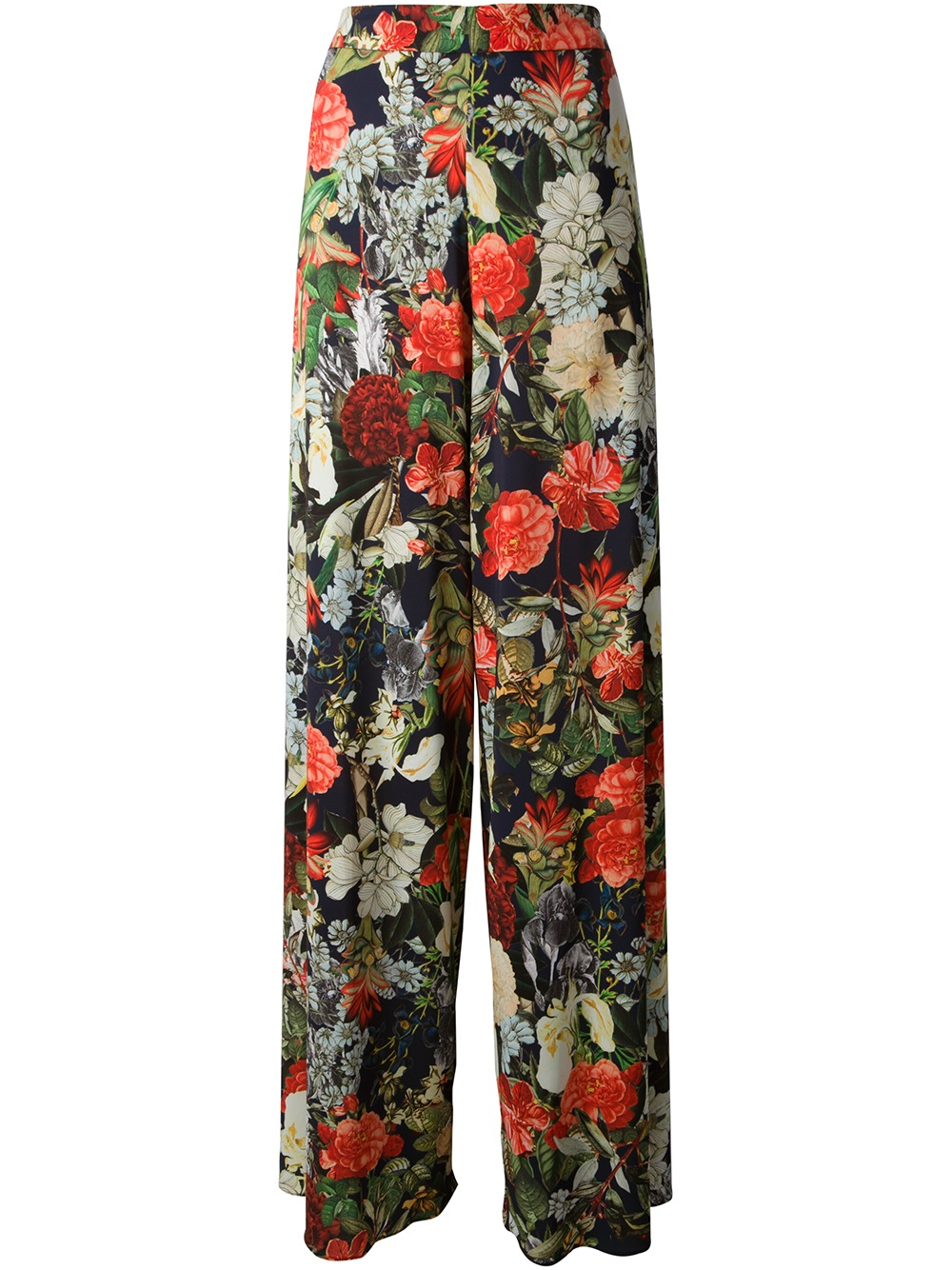 An allover floral print and side tie detail along the hem lend charming style to these crop pants. Make a statement when you wear this figure-sculpting pair with a pretty peasant top and wedge sandals.
