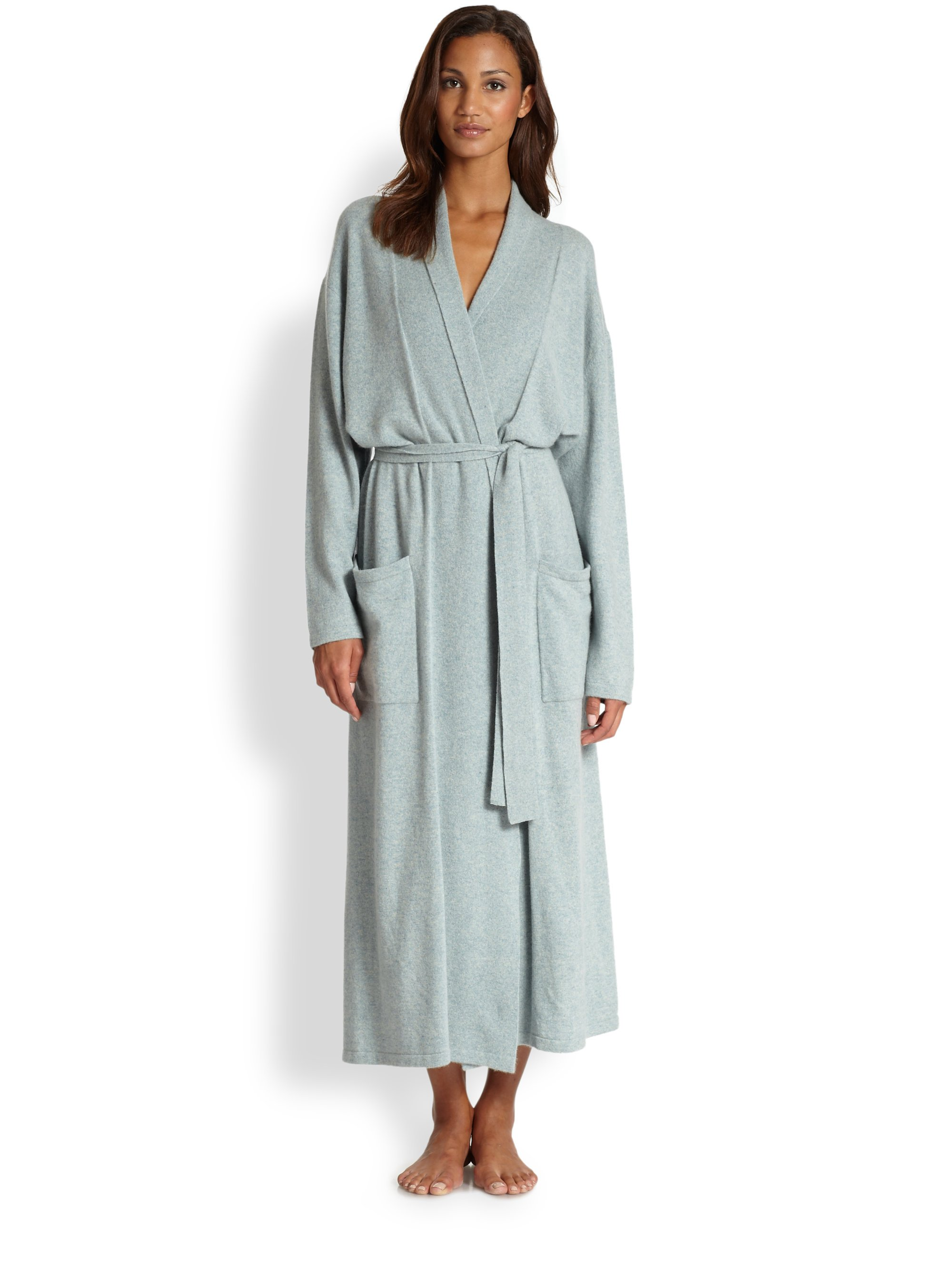 Saks fifth avenue long basic cashmere robe in purple for Saks 5th avenue robes de mariage