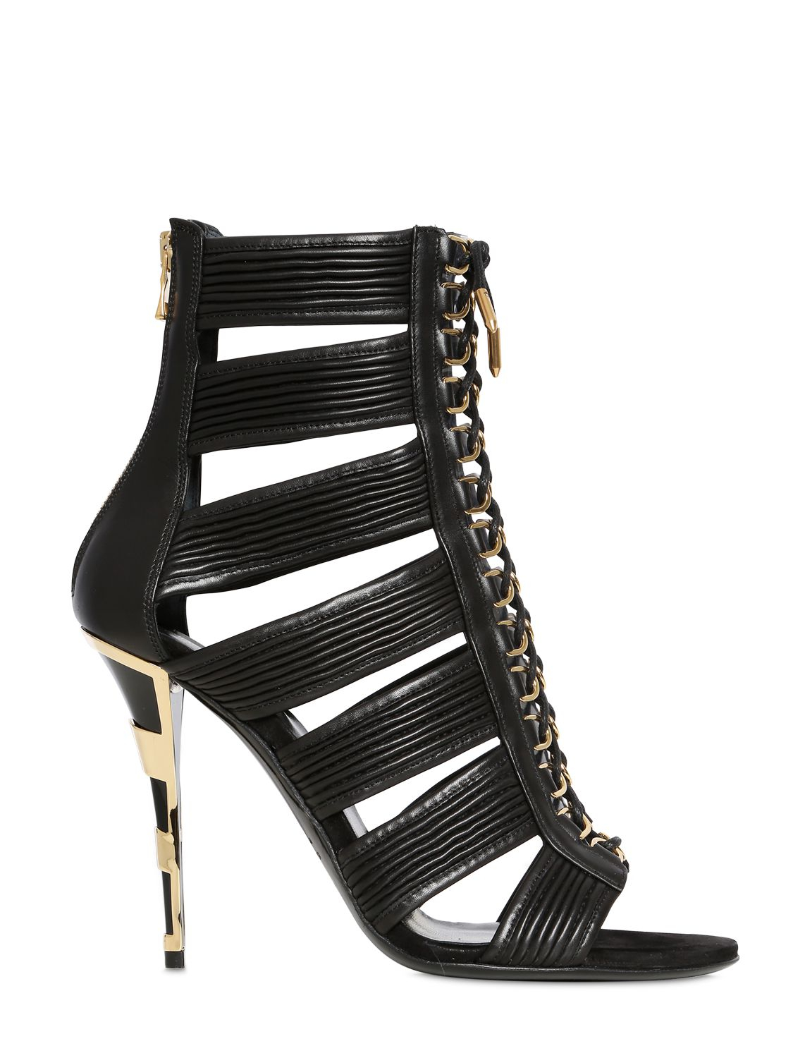 Balmain 110mm Hopi Leather Cage Sandals In Black Lyst