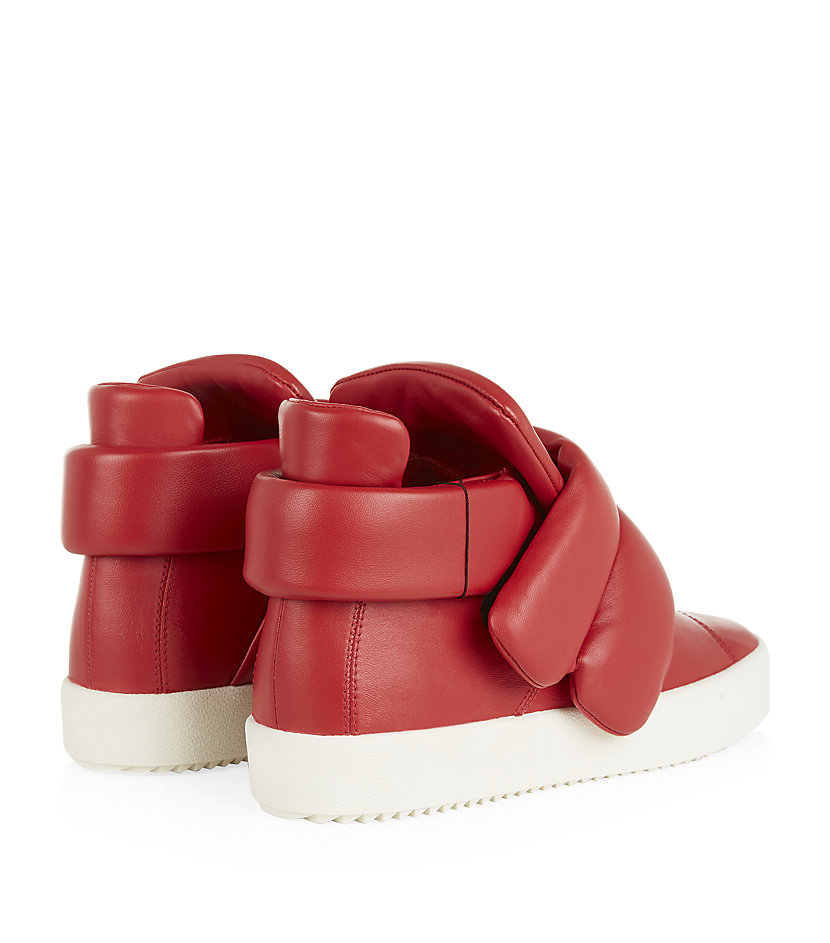 Giuseppe Zanotti Cesar Leather High-Top Sneakers in Red