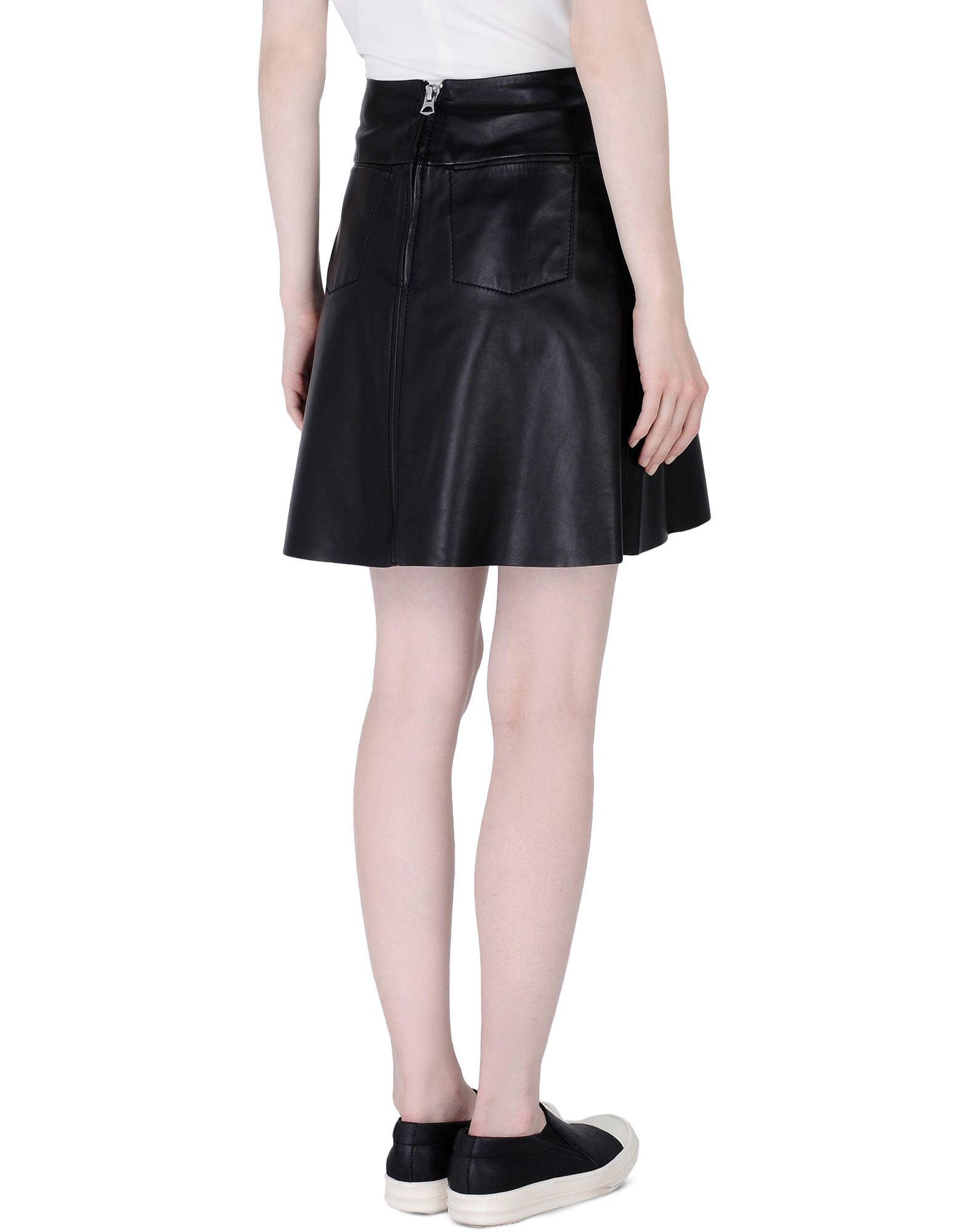 acne leather skirt in black lyst