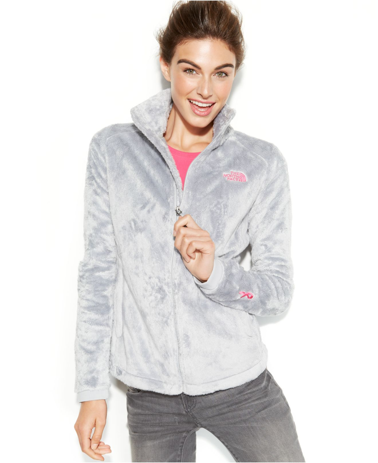 lyst the north face pink ribbon osito 2 fleece jacket in gray rh lyst com