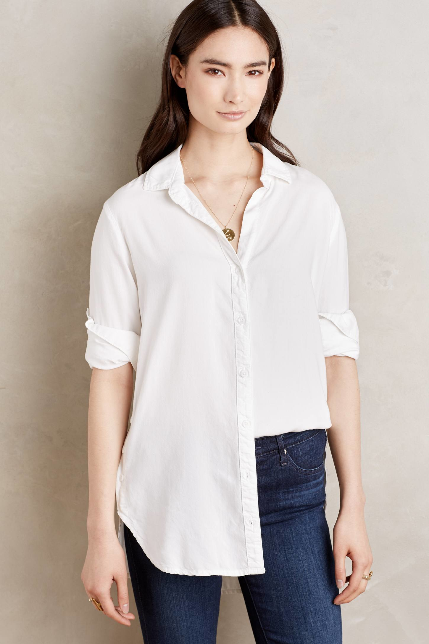Cloth Stone Side Button Tunic In White Lyst