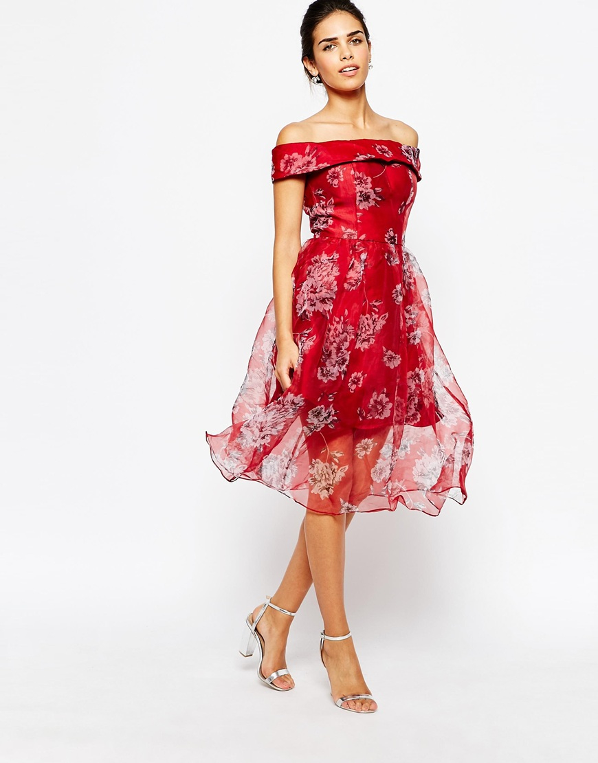 chi chi london off shoulder organza midi dress in red lyst. Black Bedroom Furniture Sets. Home Design Ideas