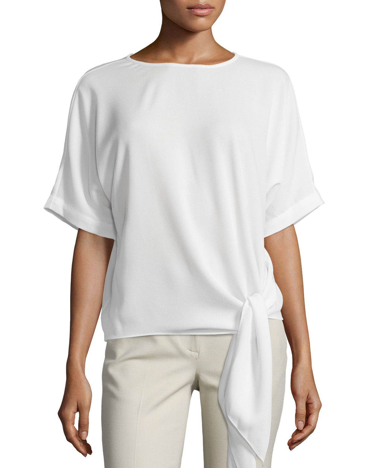 Tibi Cape Sleeve Tie Front Top In White Lyst