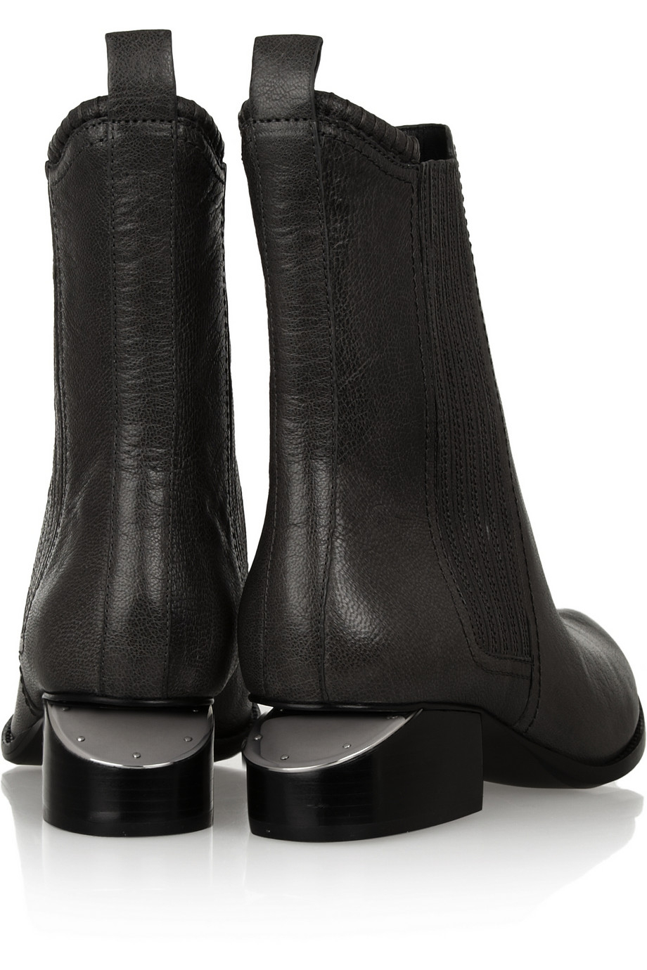 Alexander Wang Anouck Cutoutheel Leather Ankle Boots in Anthracite (Black)