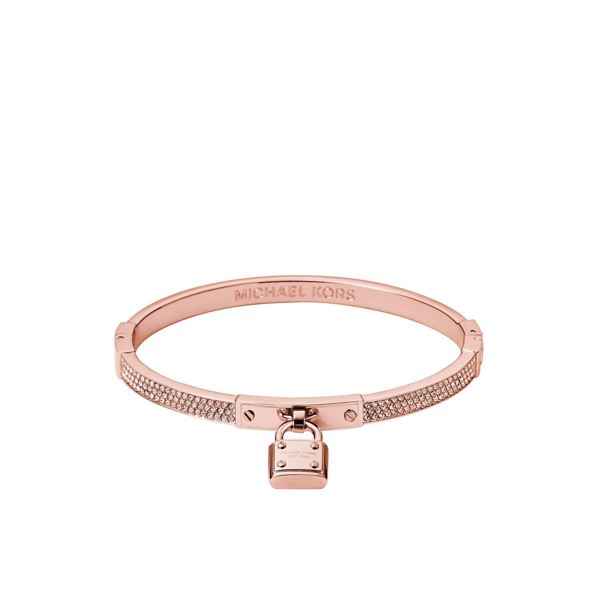 14ddc2a4264b Lyst Michael Kors Pavé Padlock Rose Gold Tone Bracelet In Pink