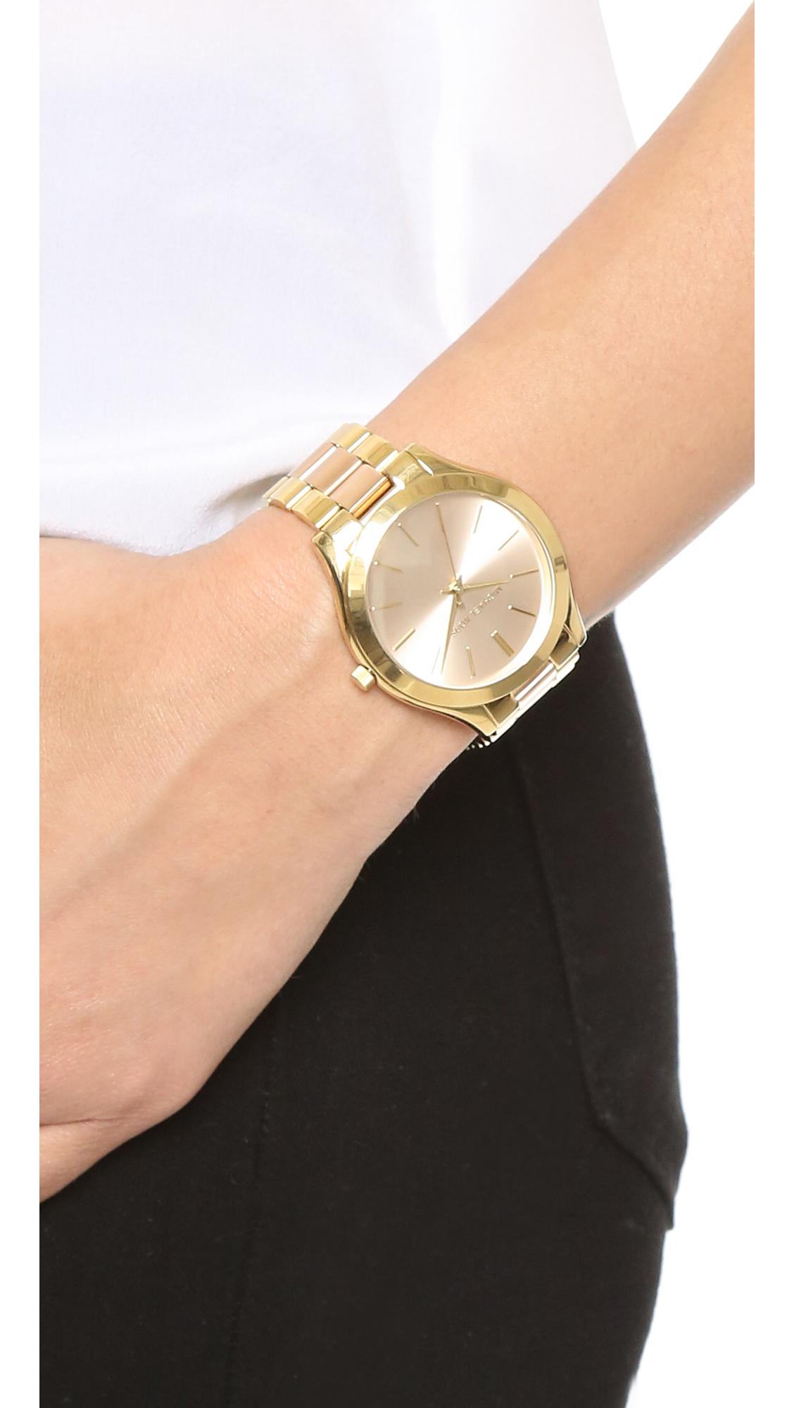 75bd58f88503 Michael Kors Slim Runway Watch in Metallic - Lyst