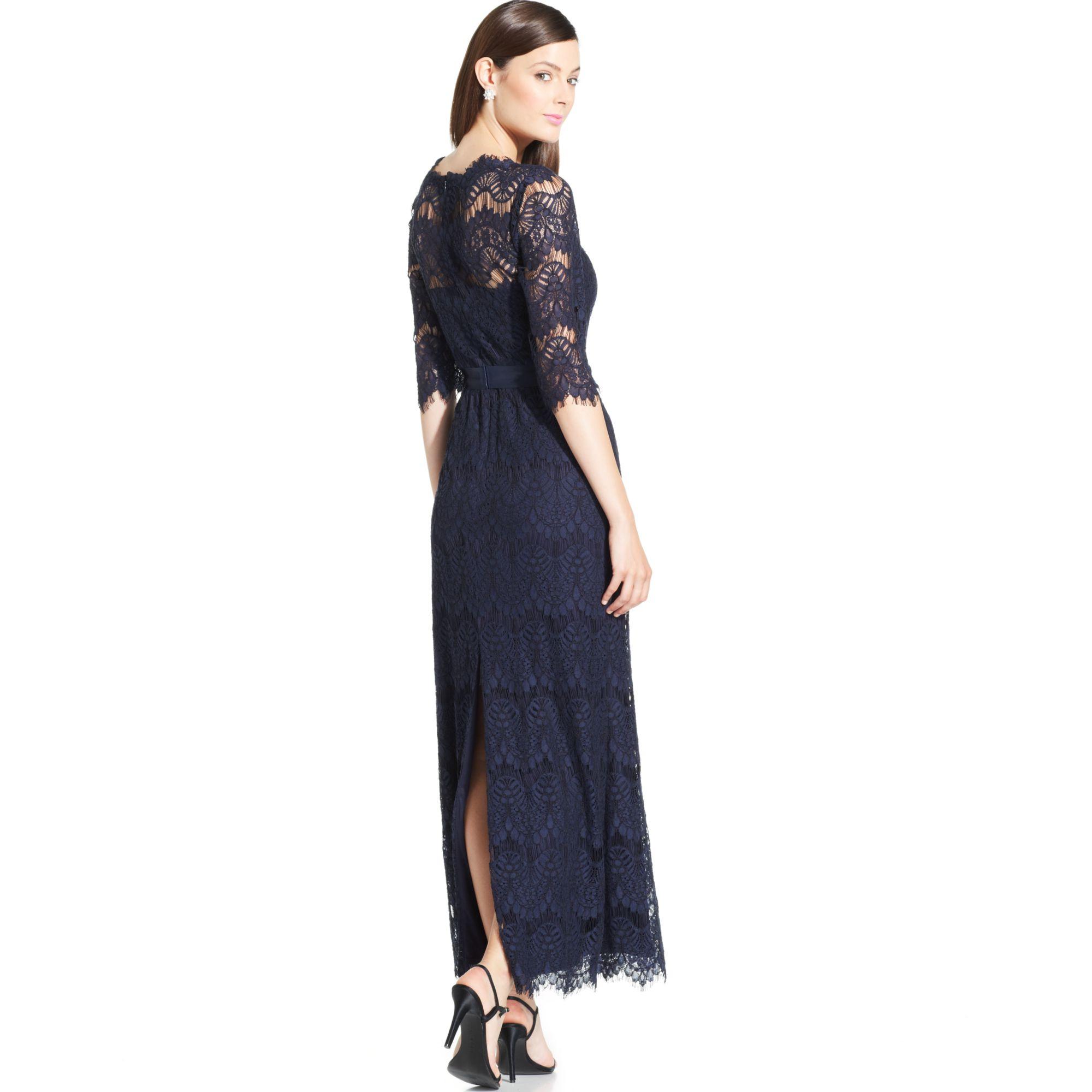 Turmec » xscape sleeveless illusion lace dress