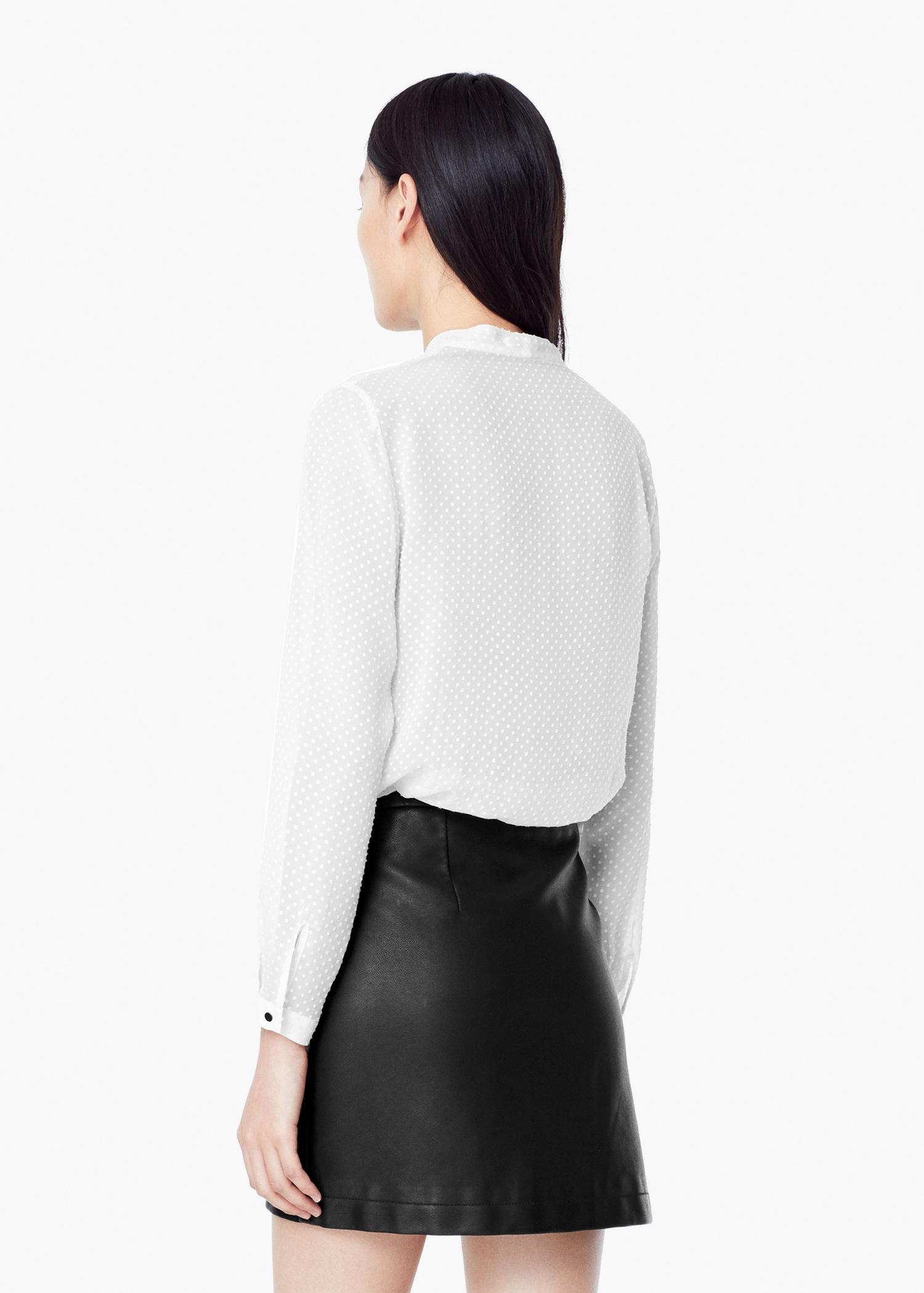 c0b050b465feb3 Lyst - Mango Plumeti Silk Blouse in White