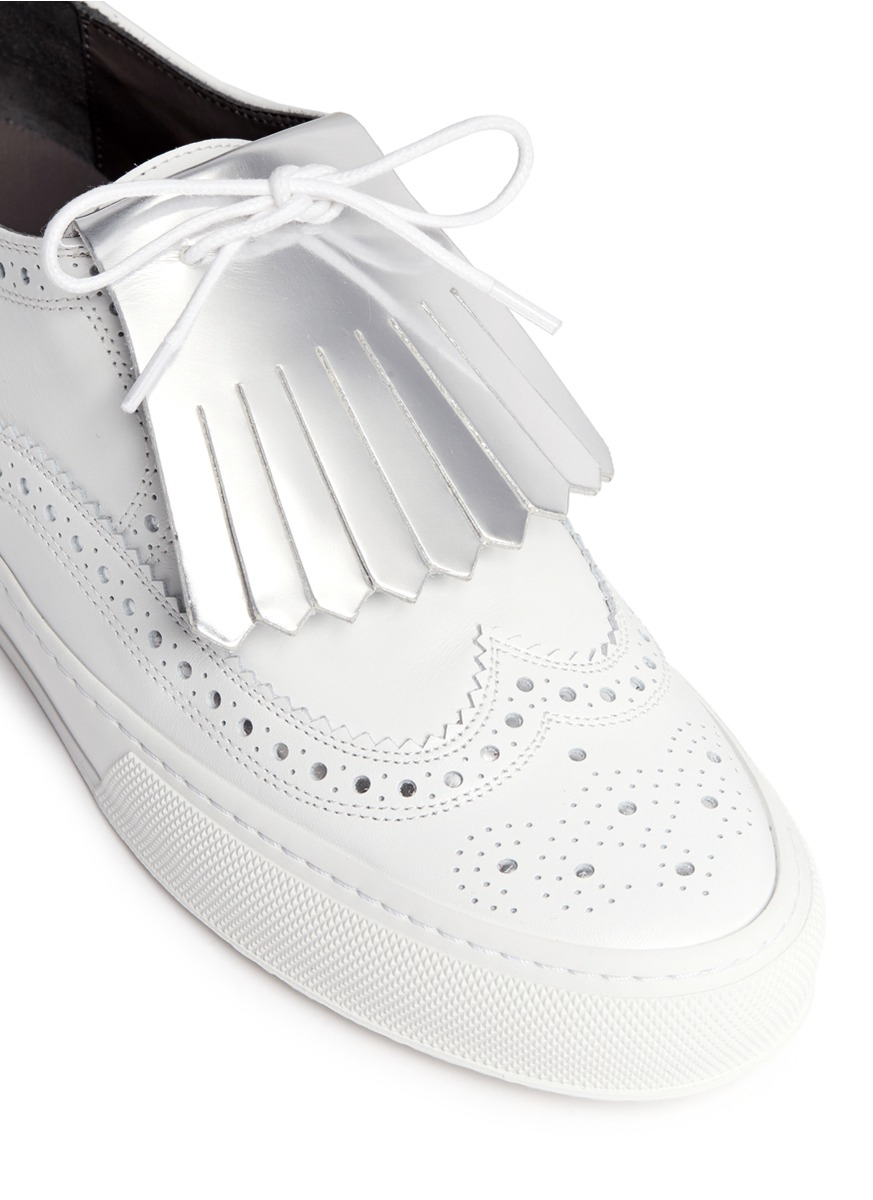 Robert Clergerie 'tolk' Detachable Kiltie Leather Brogue Sneakers in White