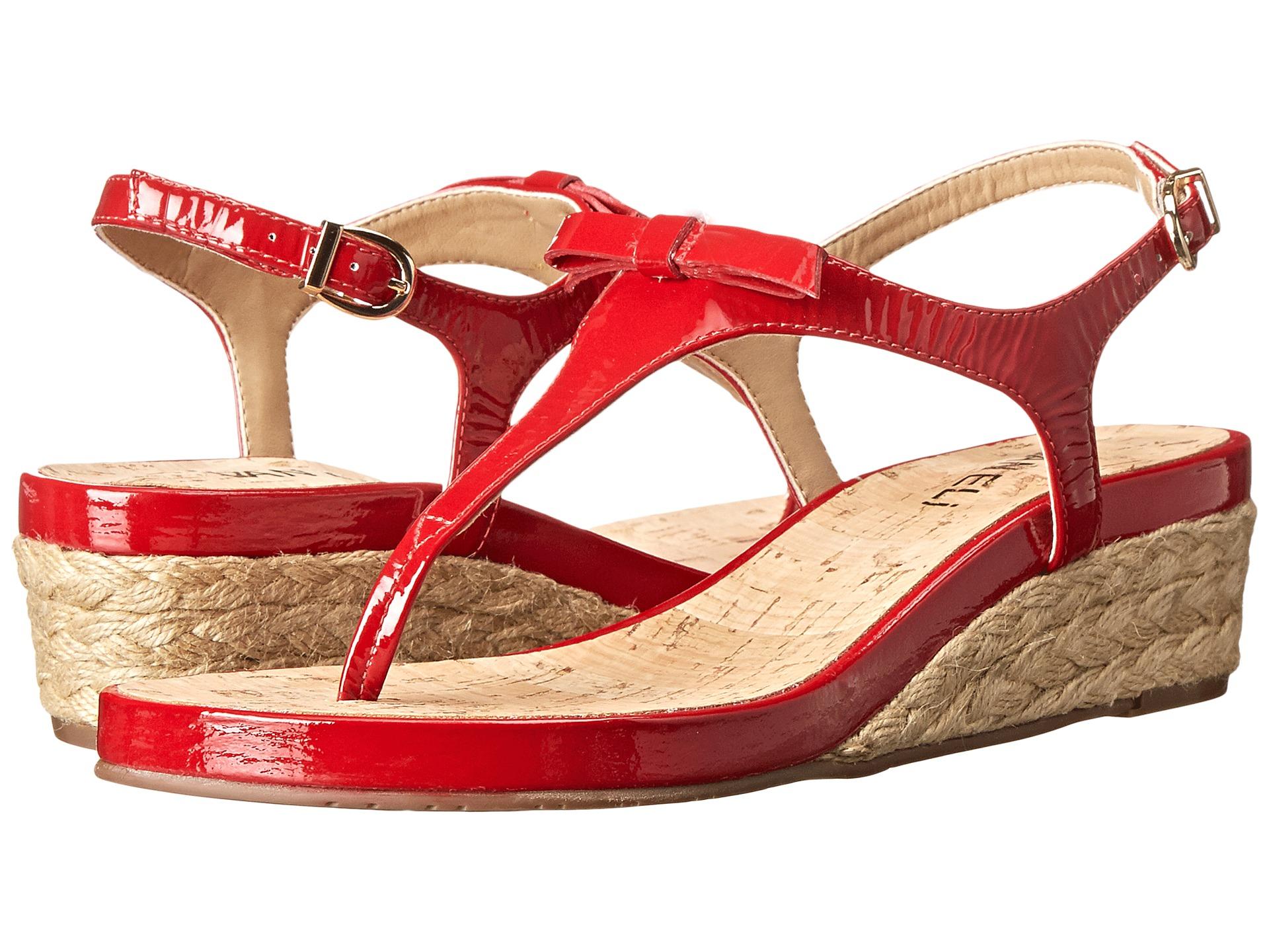 Womens Sandals Vaneli Kiliana Red Krinkle Patent/Gold Buckle