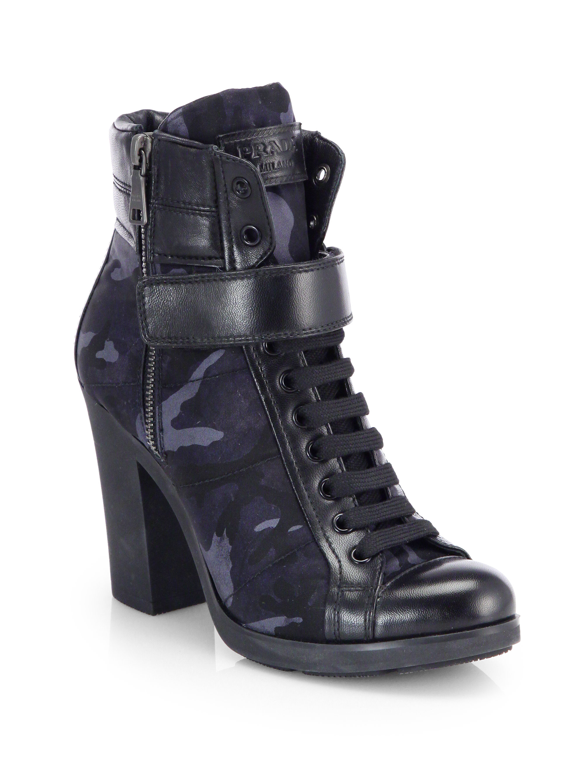 Prada Camo Print Leather Lace Up Ankle Boots In Blue Lyst