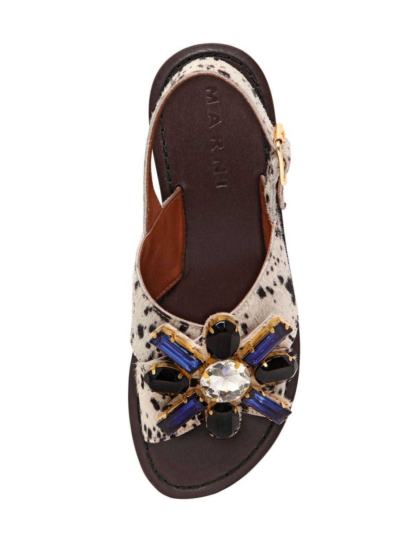 Marni Jeweled Flower Ponyskin Sandals In Black White