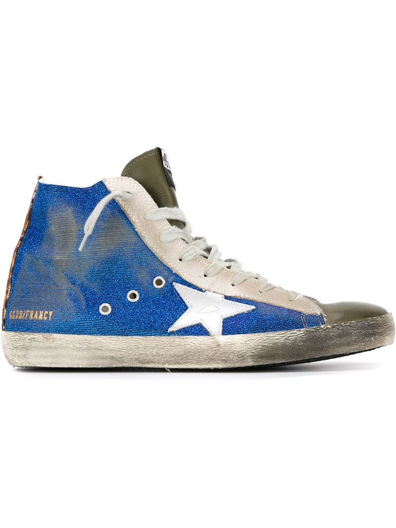 golden goose deluxe brand 39 francy 39 hi top sneakers in blue for men lyst. Black Bedroom Furniture Sets. Home Design Ideas