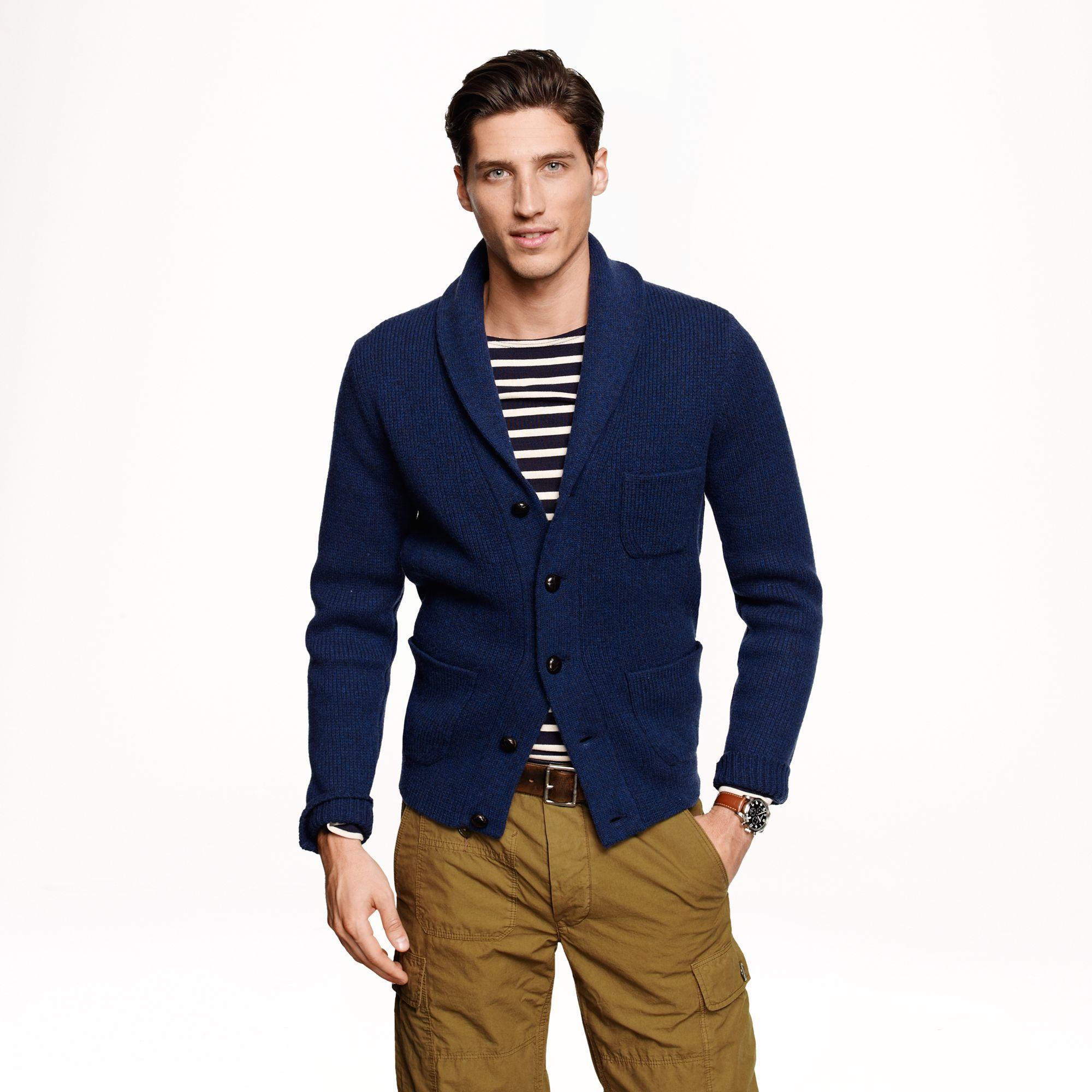 J.crew Lambs Wool Three Pocket Cardigan in Blue for Men | Lyst