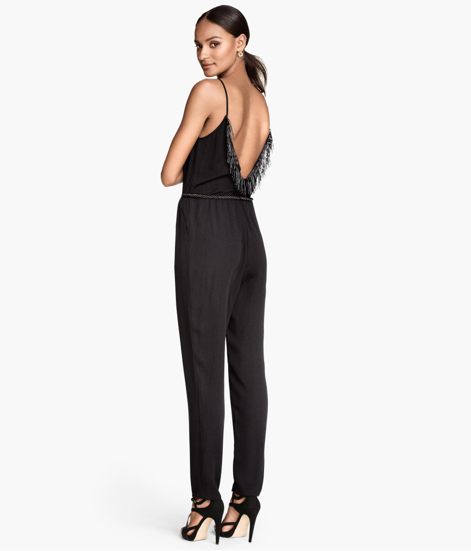 h m jumpsuit with fringes in black lyst. Black Bedroom Furniture Sets. Home Design Ideas