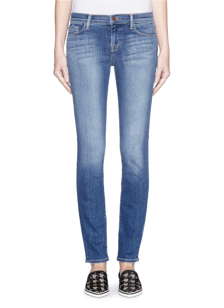 j brand 39 skinny leg 39 whiskered jeans in blue lyst. Black Bedroom Furniture Sets. Home Design Ideas