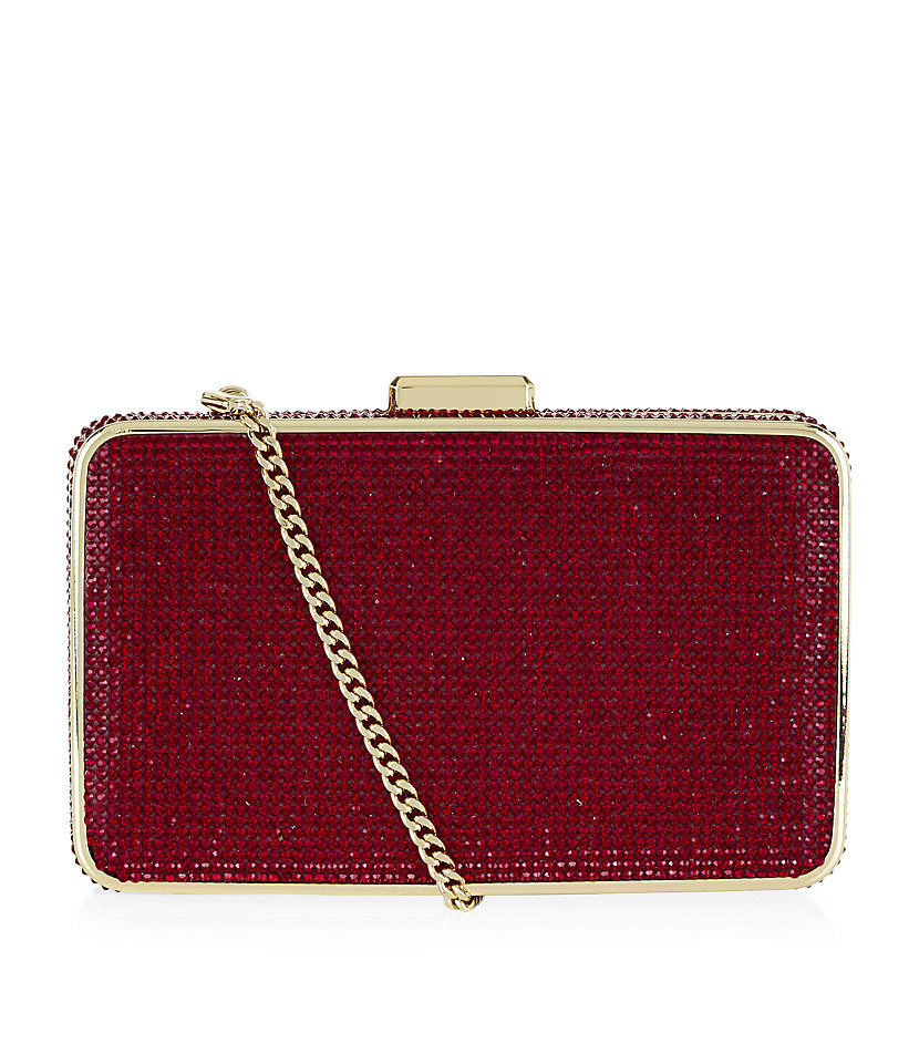 a66d46ca1454 MICHAEL Michael Kors Elsie Crystal-Embellished Box Clutch in Red - Lyst