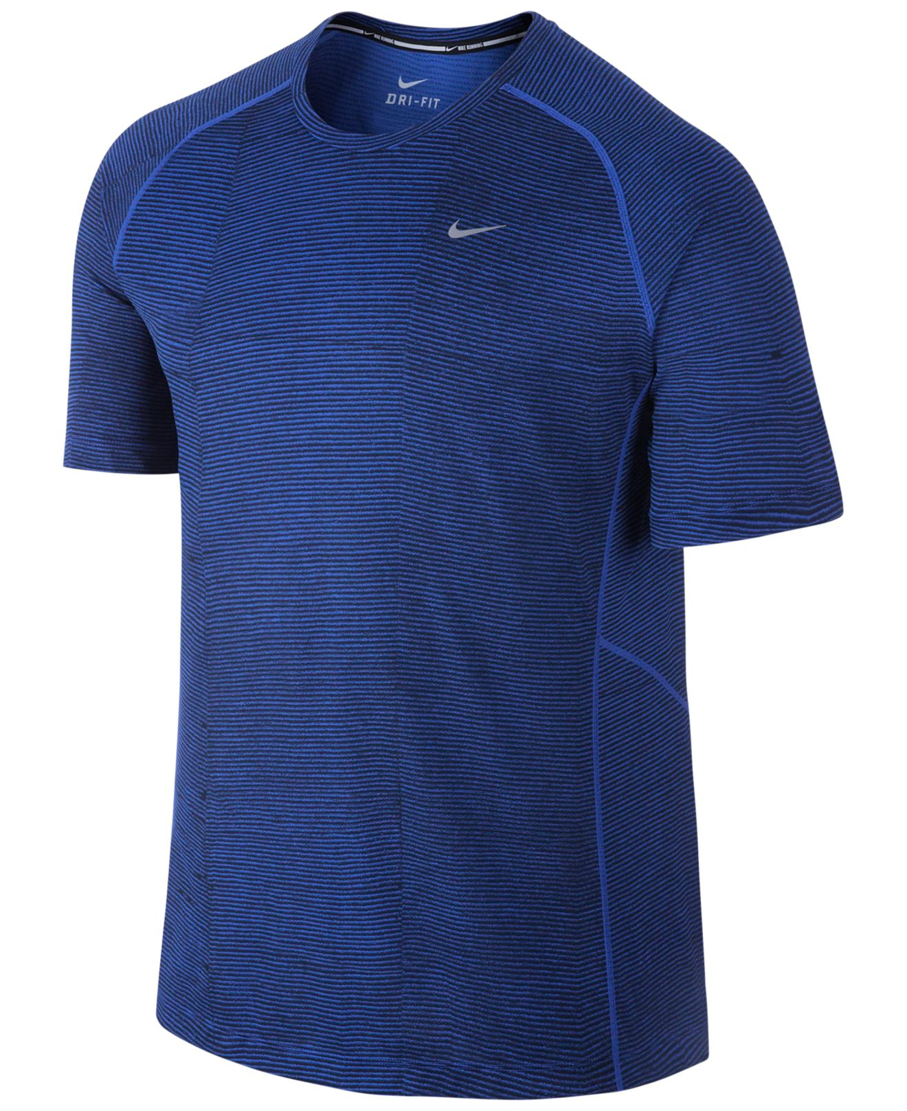 Nike men 39 s miler printed dri fit t shirt in blue for men for Dri fit dress shirts