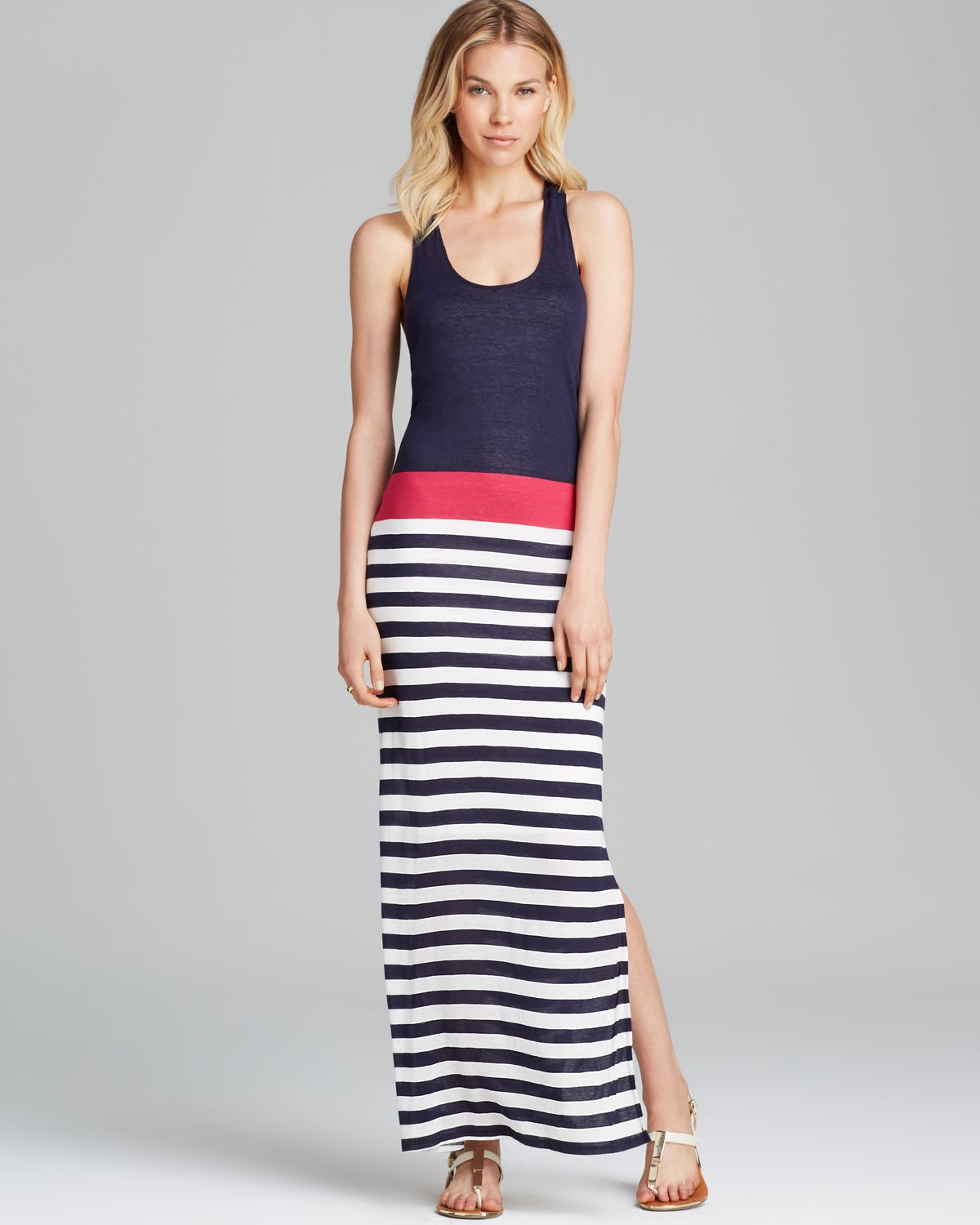 Red Haute Maxi Dress Striped Gathered Back In Pink Navy