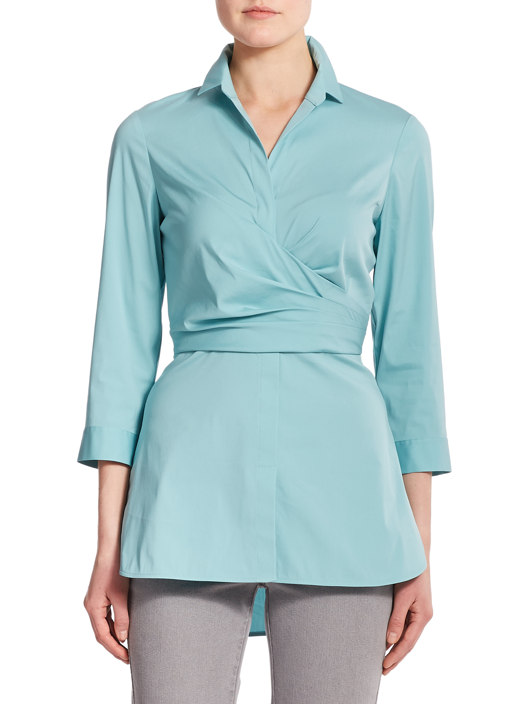 148 Best Images About Craft Ideas For Girls On Pinterest: Lafayette 148 New York Ginger Faux-wrap Blouse In Blue