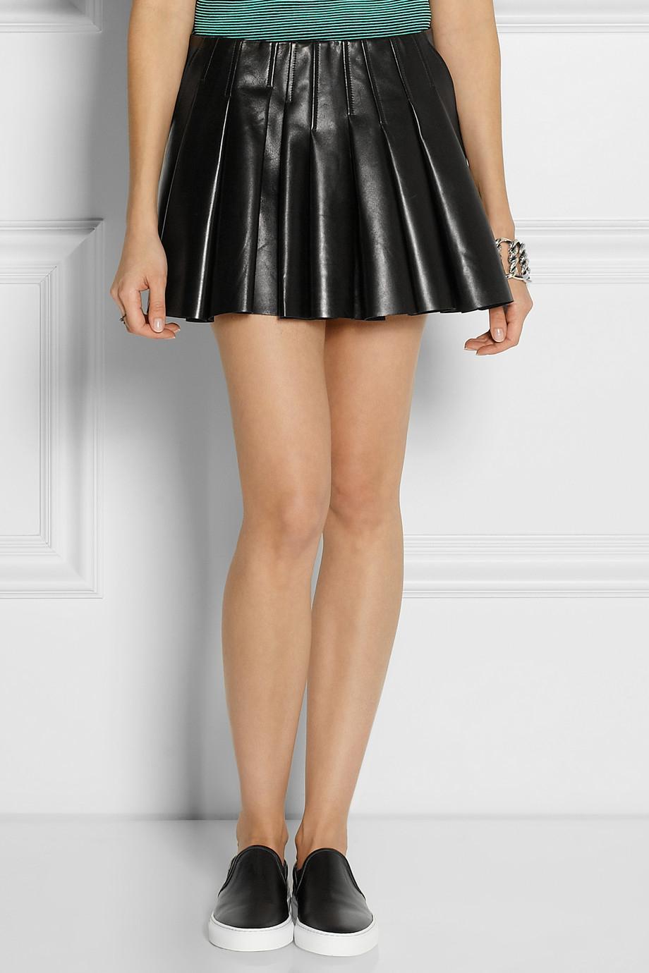 Pleated Leather Mini Skirt - Skirts