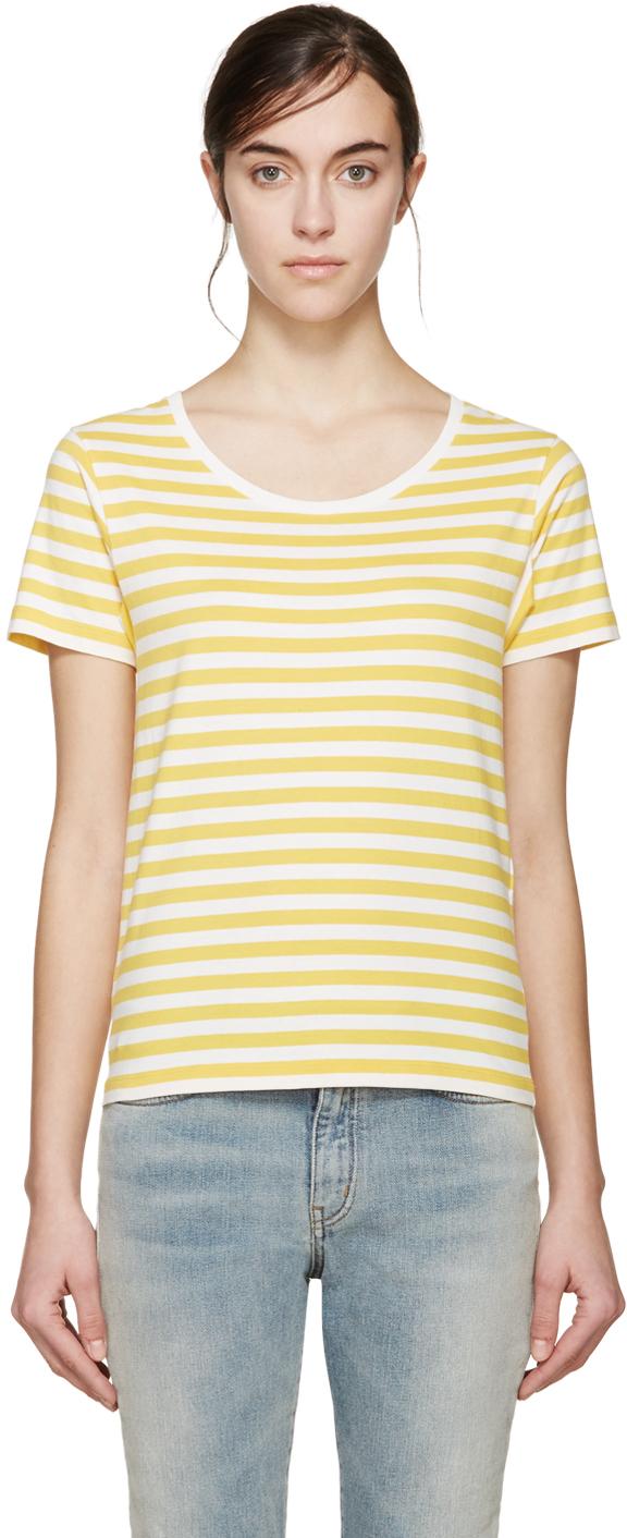 Lyst saint laurent yellow white striped t shirt in yellow for Best striped t shirt