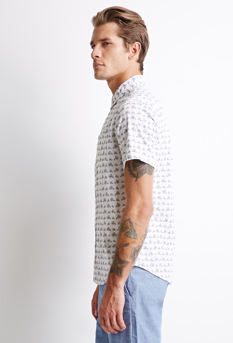 219febf80 Lyst - Forever 21 Cotton Bicycle Print Shirt in White for Men