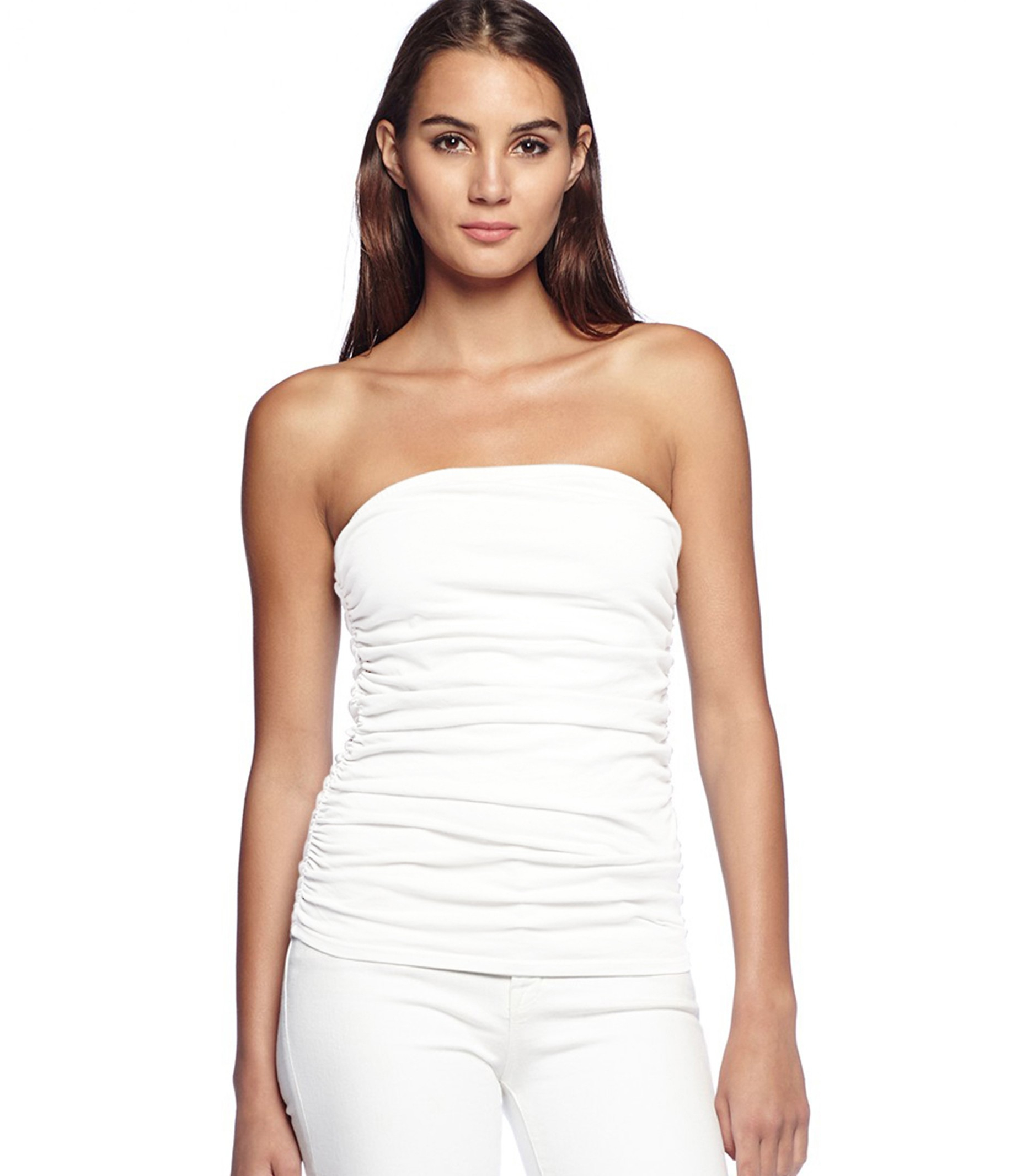 Michael stars cotton lycra tube top with shirring in white for Michael stars t shirts on sale