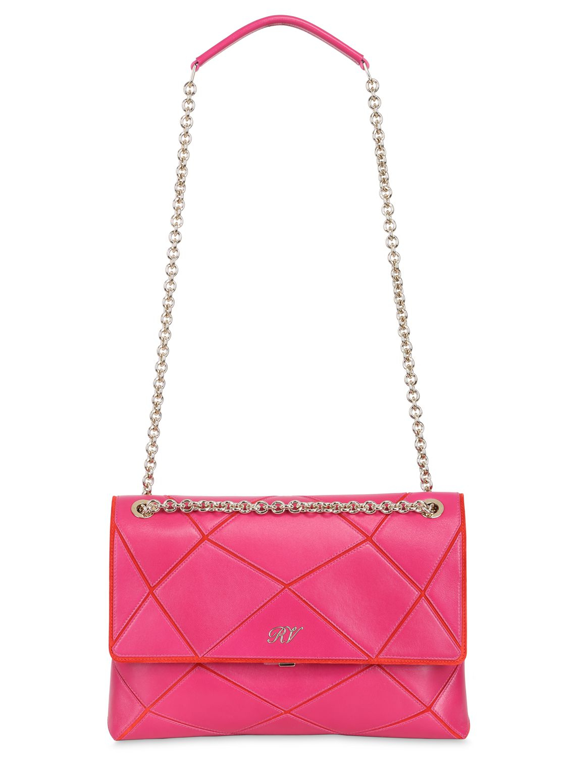 9b0aaa67d91d Roger Vivier Small Prismick Patchwork Leather Bag in Pink - Lyst