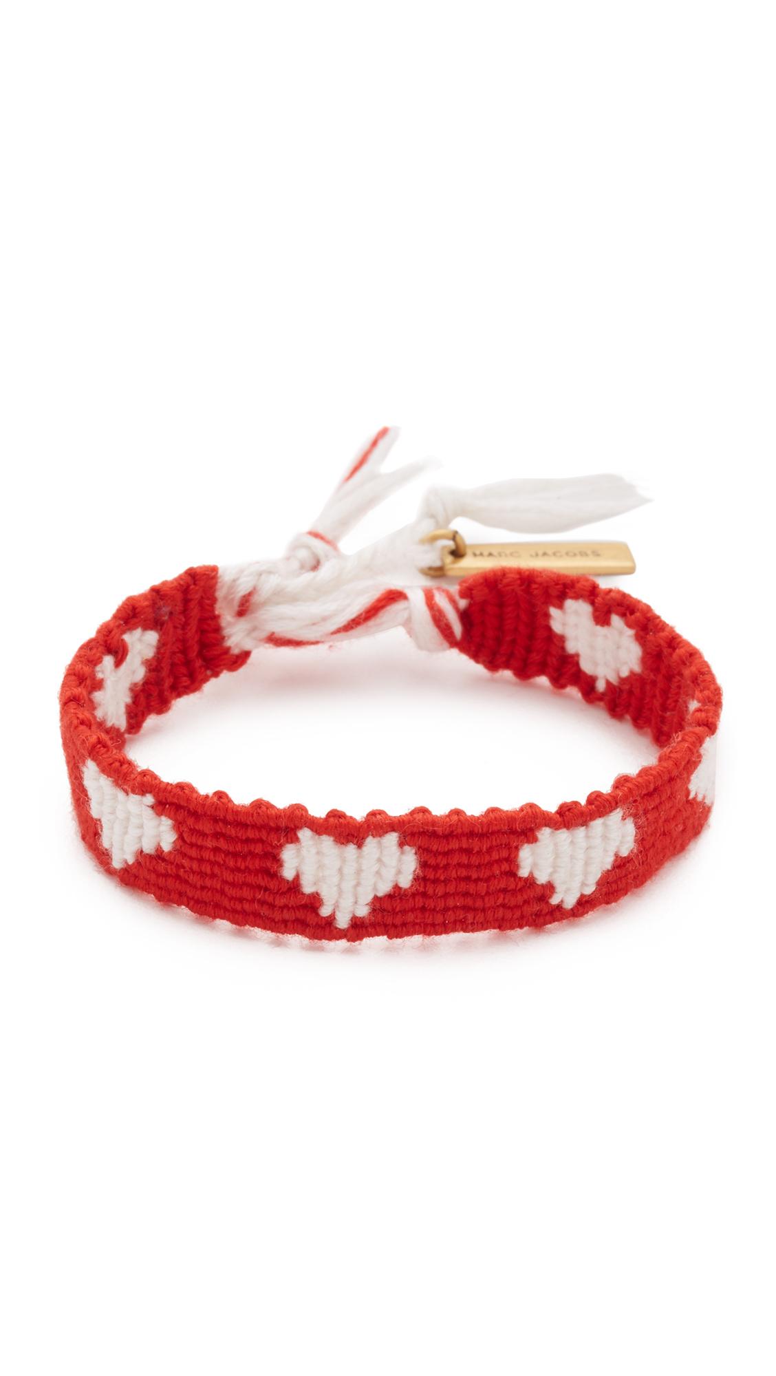 Lyst Marc Jacobs Heart Macrame Bracelet In Red