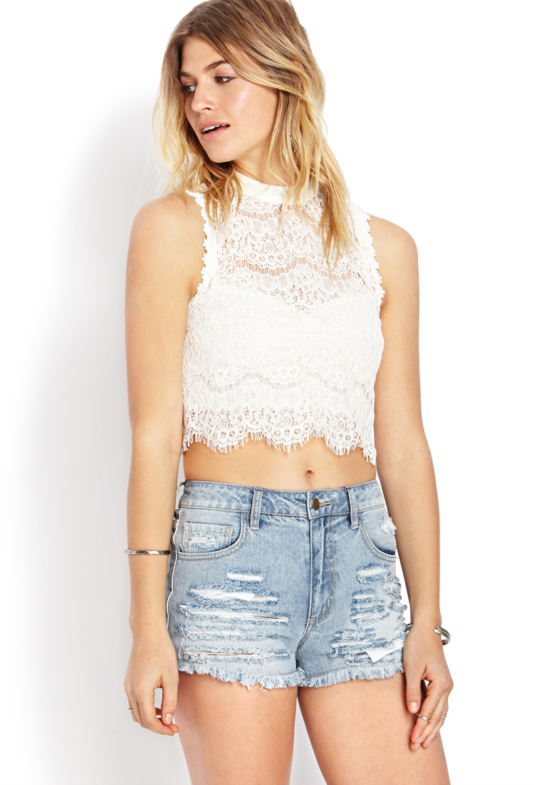 fcb68e154013b5 Lyst - Forever 21 Dainty Crochet Lace Crop Top in White