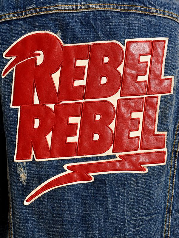 R13 Rebel Patch Destroyed Denim Jacket In Blue Lyst