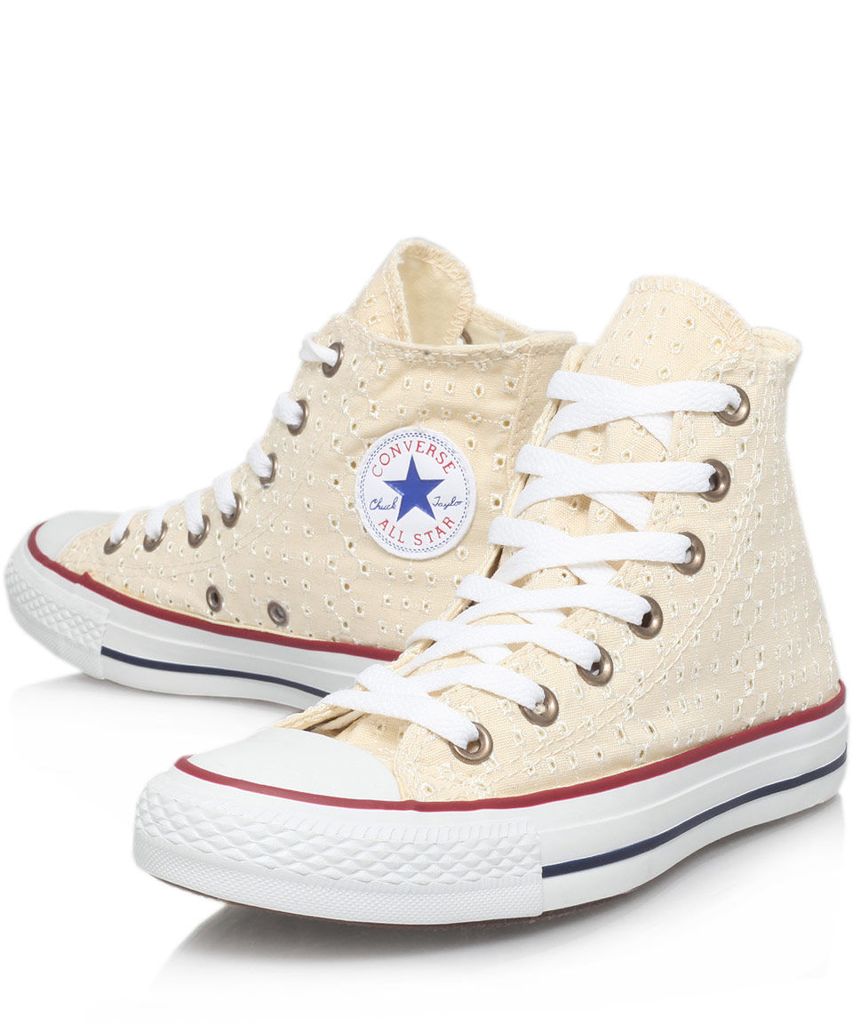 Converse Cream Eyelet Print Chuck Taylor Hi Top Trainers ...