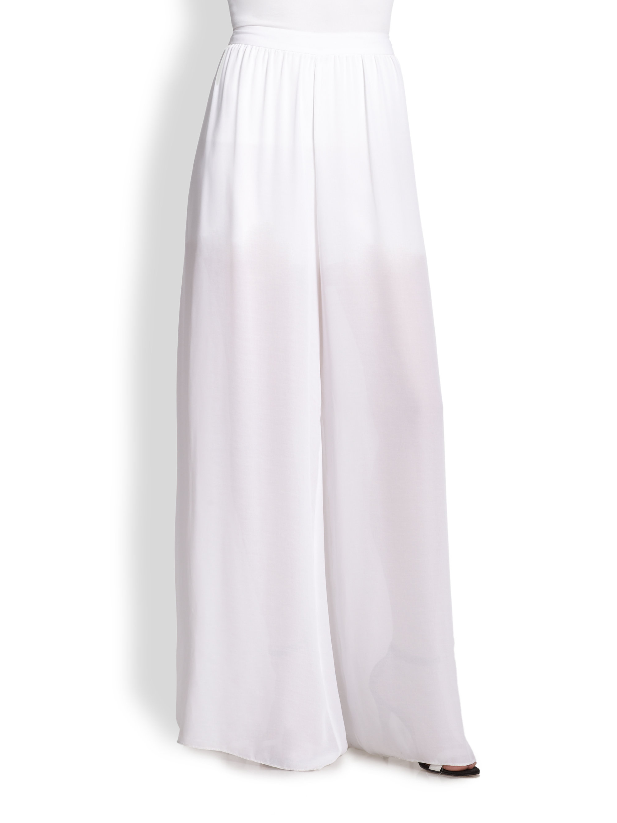 Sheer Wide Leg Pants With Shorts