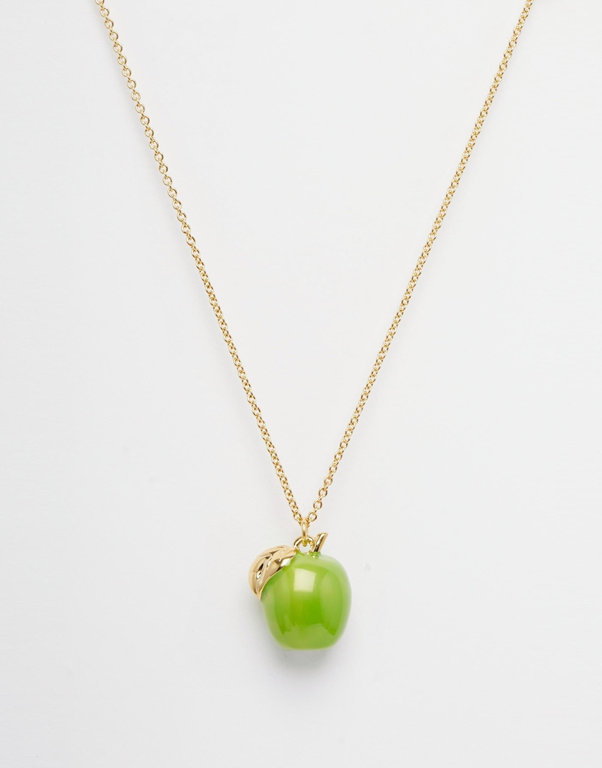 Lyst bill skinner apple pendant necklace in green gallery mozeypictures Image collections
