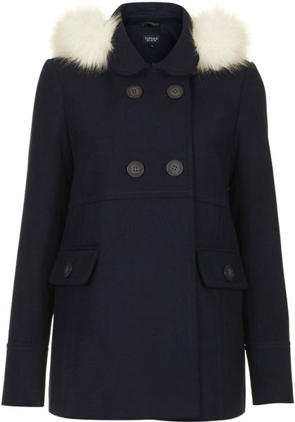 Topshop Faux Fur Hooded Swing Coat In Blue Navy Blue Lyst