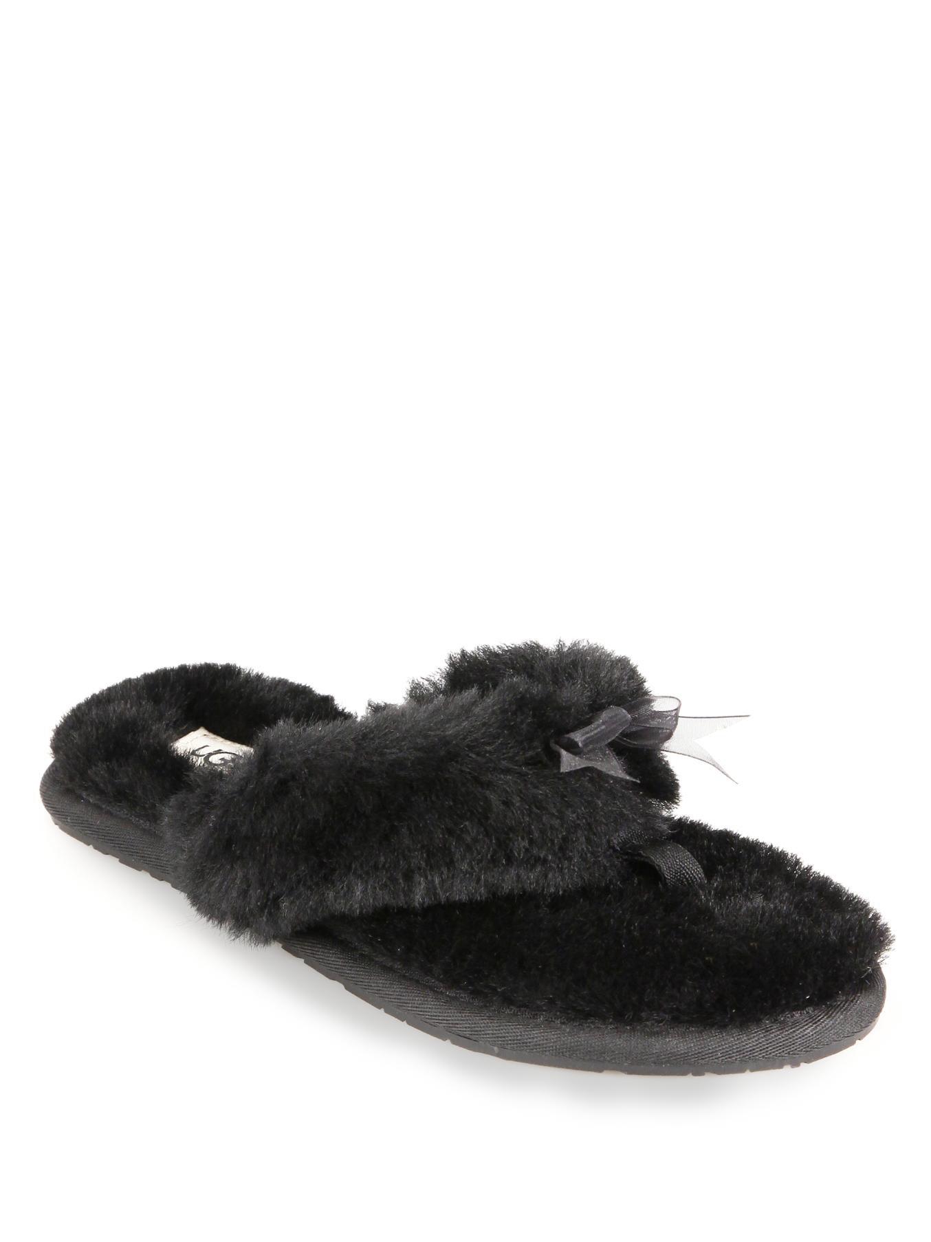 Ugg Fluff Shearling Flip Flops In Black - Lyst-2506