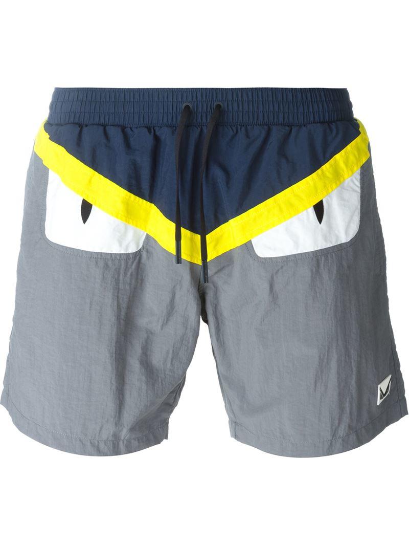 Fendi Bag Bugs Swim Shorts In Blue For Men Lyst